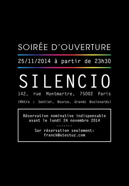 """Chéries-Chéris / Flyer soirée d'ouverture """"Silencio"""""""